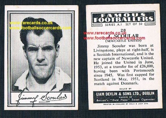 1952 Liam Devlin Ireland Series A1 #28 Jimmy Scoular Newcastle United